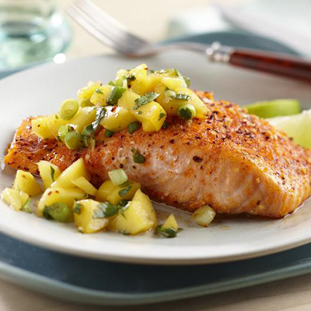 Sweet and Spicy Salmon with Mango Salsa